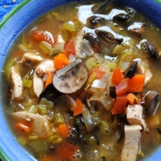 Diabetic Turkey Soup with White Mushrooms